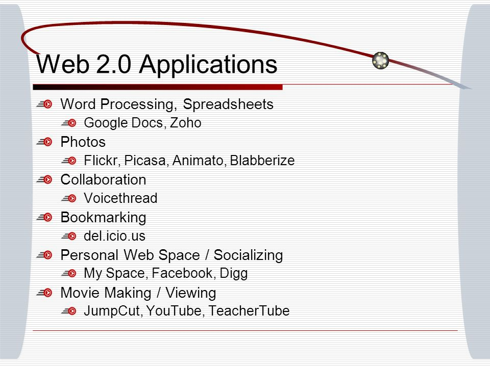 Web 2.0 Applications Word Processing, Spreadsheets Google Docs, Zoho Photos Flickr, Picasa, Animato, Blabberize Collaboration Voicethread Bookmarking del.icio.us Personal Web Space / Socializing My Space, Facebook, Digg Movie Making / Viewing JumpCut, YouTube, TeacherTube