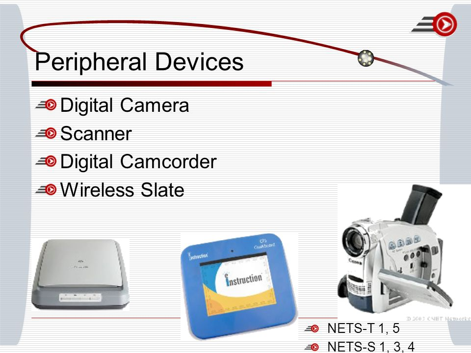 Peripheral Devices Digital Camera Scanner Digital Camcorder Wireless Slate NETS-T 1, 5 NETS-S 1, 3, 4