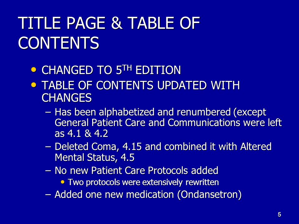 TITLE PAGE & TABLE OF CONTENTS CHANGED TO 5 TH EDITION CHANGED TO 5 TH EDITION TABLE OF CONTENTS UPDATED WITH CHANGES TABLE OF CONTENTS UPDATED WITH C