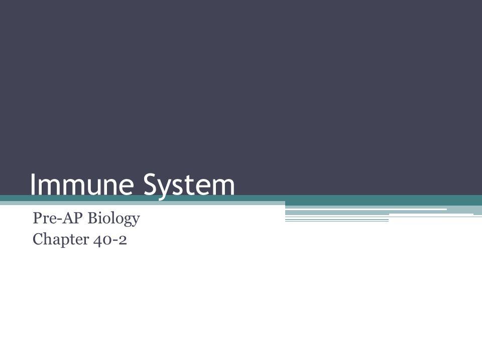 Immune System Pre-AP Biology Chapter 40-2