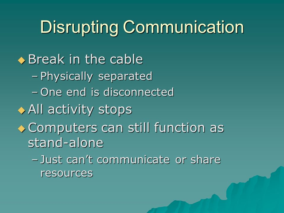 Disrupting Communication Break in the cable Break in the cable –Physically separated –One end is disconnected All activity stops All activity stops Co