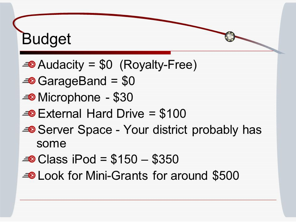 Budget Audacity = $0 (Royalty-Free) GarageBand = $0 Microphone - $30 External Hard Drive = $100 Server Space - Your district probably has some Class iPod = $150 – $350 Look for Mini-Grants for around $500