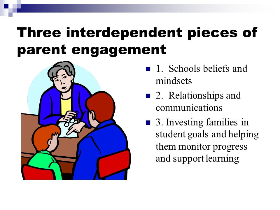 Three interdependent pieces of parent engagement 1.