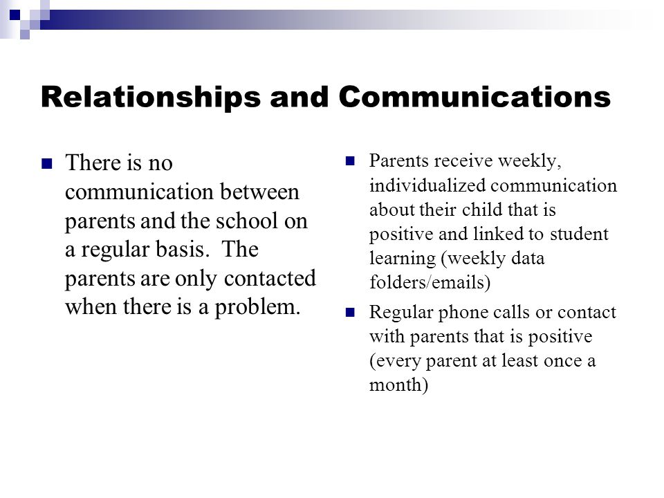 Relationships and Communications There is no communication between parents and the school on a regular basis.