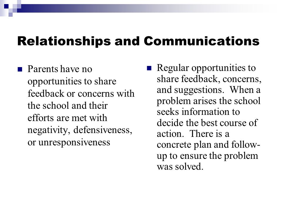 Relationships and Communications Parents have no opportunities to share feedback or concerns with the school and their efforts are met with negativity, defensiveness, or unresponsiveness Regular opportunities to share feedback, concerns, and suggestions.