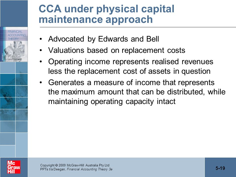 5-19 Copyright 2009 McGraw-Hill Australia Pty Ltd PPTs t/a Deegan, Financial Accounting Theory 3e CCA under physical capital maintenance approach Advo