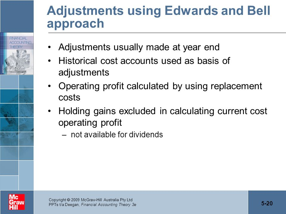 5-20 Copyright 2009 McGraw-Hill Australia Pty Ltd PPTs t/a Deegan, Financial Accounting Theory 3e Adjustments using Edwards and Bell approach Adjustme