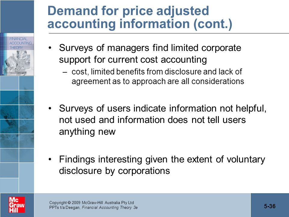 5-36 Copyright 2009 McGraw-Hill Australia Pty Ltd PPTs t/a Deegan, Financial Accounting Theory 3e Demand for price adjusted accounting information (co