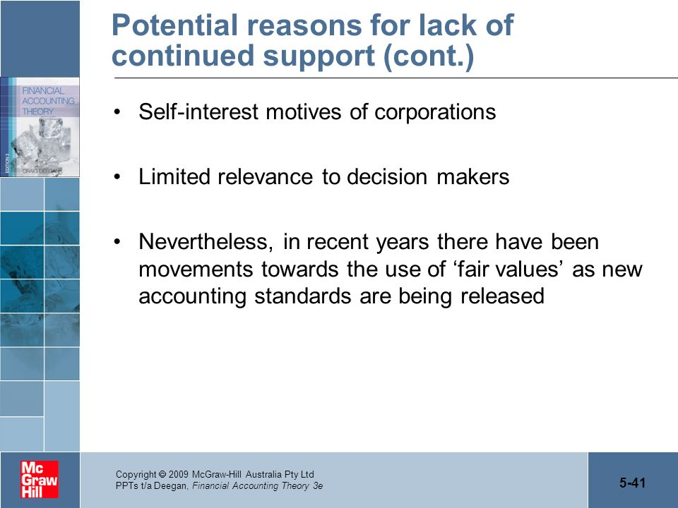 5-41 Copyright 2009 McGraw-Hill Australia Pty Ltd PPTs t/a Deegan, Financial Accounting Theory 3e Potential reasons for lack of continued support (con