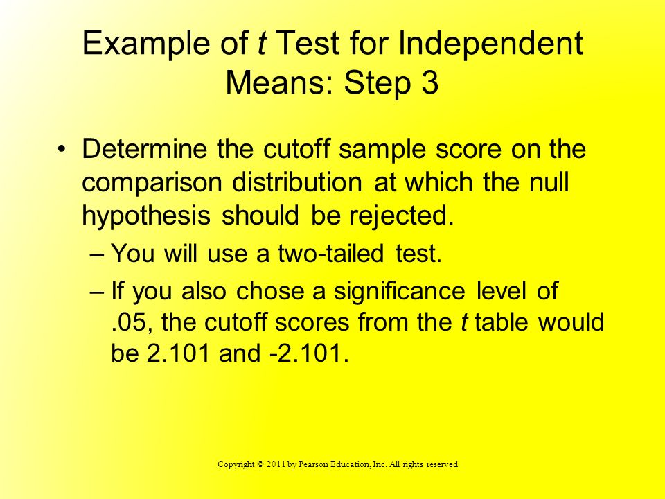 Copyright © 2011 by Pearson Education, Inc. All rights reserved Example of t Test for Independent Means: Step 3 Determine the cutoff sample score on t