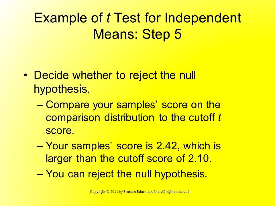 Copyright © 2011 by Pearson Education, Inc. All rights reserved Example of t Test for Independent Means: Step 5 Decide whether to reject the null hypo