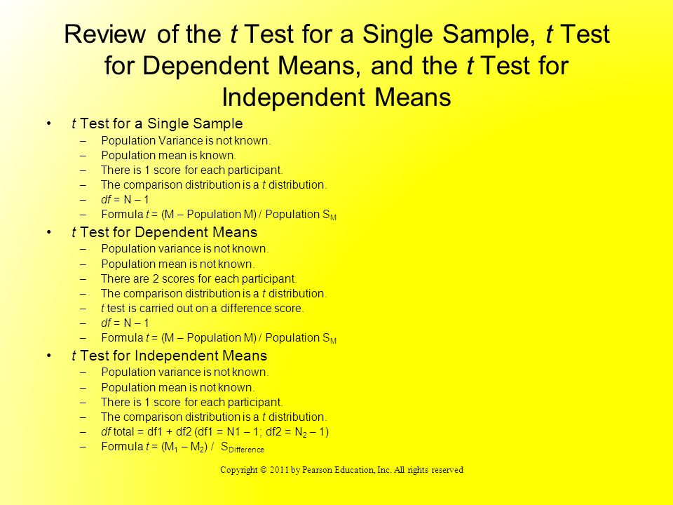 Copyright © 2011 by Pearson Education, Inc. All rights reserved Review of the t Test for a Single Sample, t Test for Dependent Means, and the t Test f