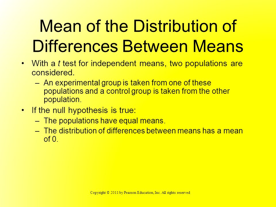 Copyright © 2011 by Pearson Education, Inc. All rights reserved Mean of the Distribution of Differences Between Means With a t test for independent me
