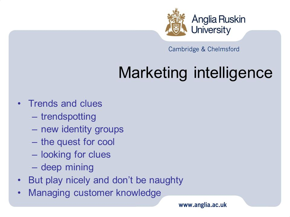 Marketing intelligence Trends and clues –trendspotting –new identity groups –the quest for cool –looking for clues –deep mining But play nicely and do