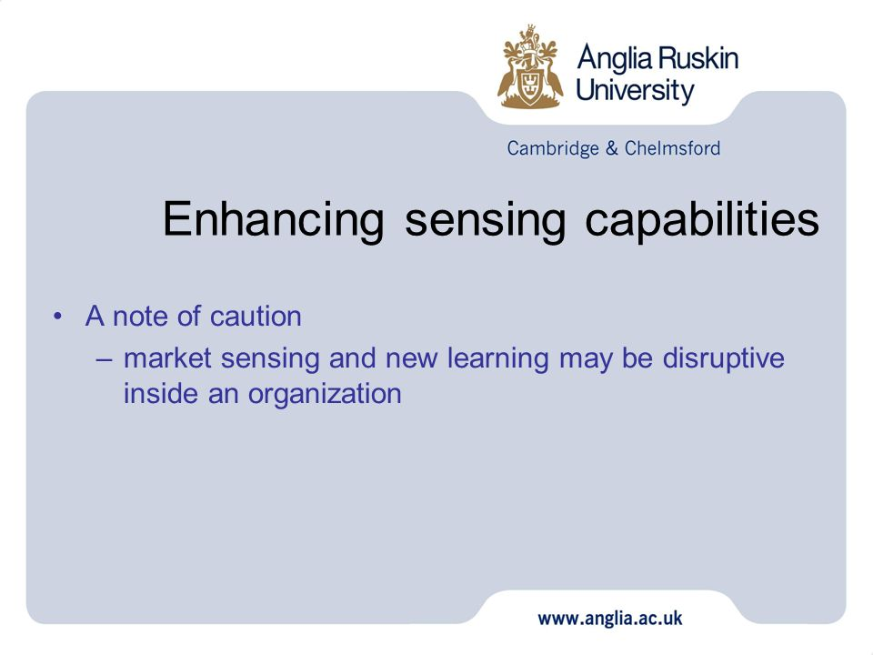 Enhancing sensing capabilities A note of caution –market sensing and new learning may be disruptive inside an organization