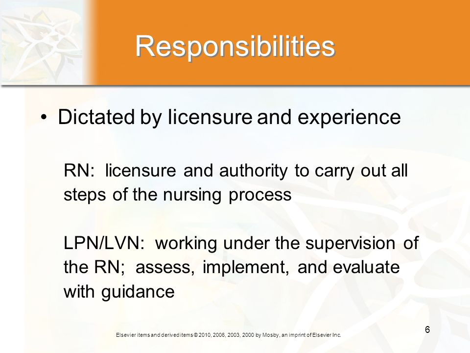 Elsevier items and derived items © 2010, 2006, 2003, 2000 by Mosby, an imprint of Elsevier Inc. 6 Responsibilities Dictated by licensure and experienc