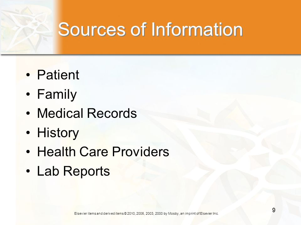 Elsevier items and derived items © 2010, 2006, 2003, 2000 by Mosby, an imprint of Elsevier Inc. 9 Sources of Information Patient Family Medical Record