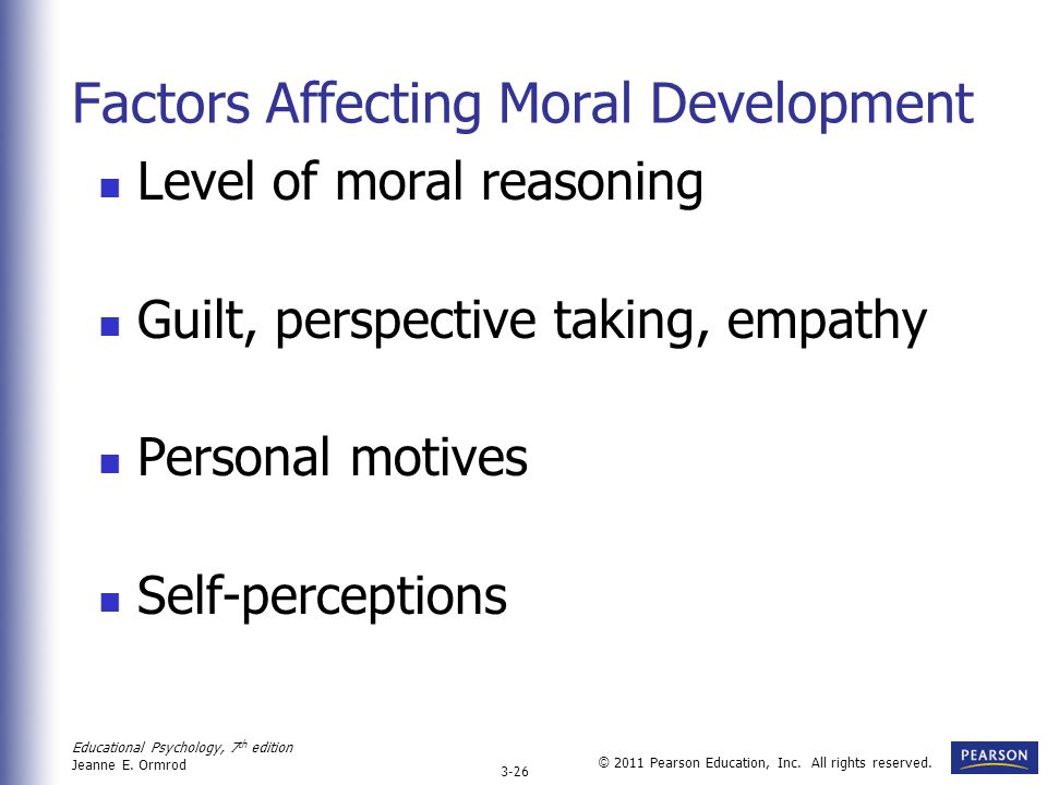 Educational Psychology, 7 th edition Jeanne E. Ormrod 3-26 © 2011 Pearson Education, Inc. All rights reserved. Factors Affecting Moral Development Lev