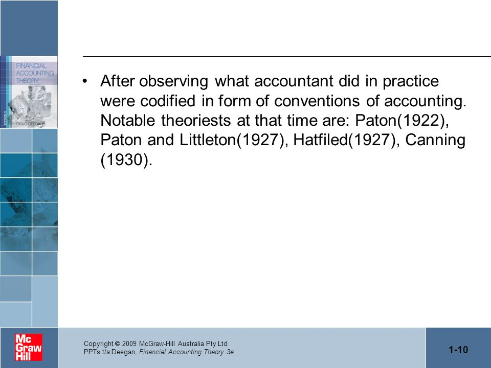 After observing what accountant did in practice were codified in form of conventions of accounting. Notable theoriests at that time are: Paton(1922),