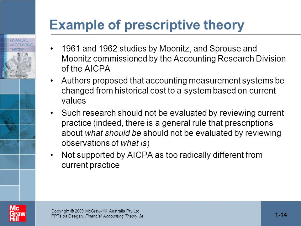 1-14 Copyright 2009 McGraw-Hill Australia Pty Ltd PPTs t/a Deegan, Financial Accounting Theory 3e Example of prescriptive theory 1961 and 1962 studies