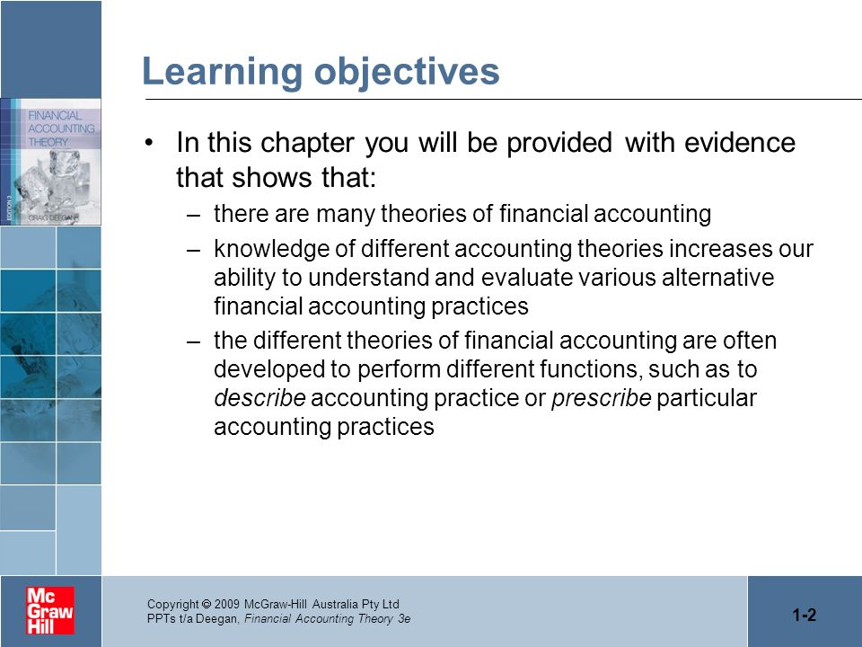 1-2 Copyright 2009 McGraw-Hill Australia Pty Ltd PPTs t/a Deegan, Financial Accounting Theory 3e Learning objectives In this chapter you will be provi