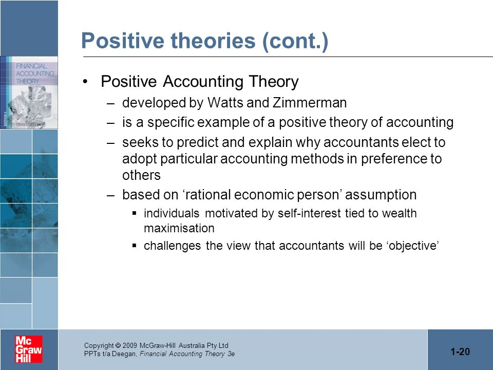 1-20 Copyright 2009 McGraw-Hill Australia Pty Ltd PPTs t/a Deegan, Financial Accounting Theory 3e Positive theories (cont.) Positive Accounting Theory