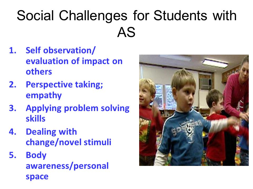 Social Challenges for Students with AS 1.Self observation/ evaluation of impact on others 2.Perspective taking; empathy 3.Applying problem solving ski