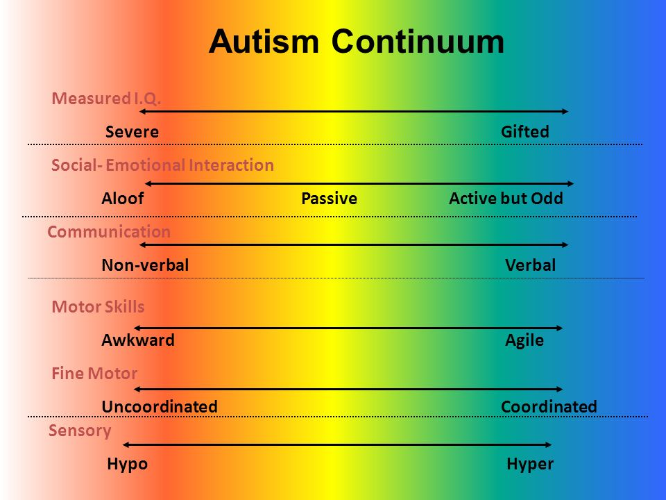 Autism Continuum Measured I.Q. Severe Gifted Social- Emotional Interaction Aloof Passive Active but Odd Communication Non-verbal Verbal Motor Skills A
