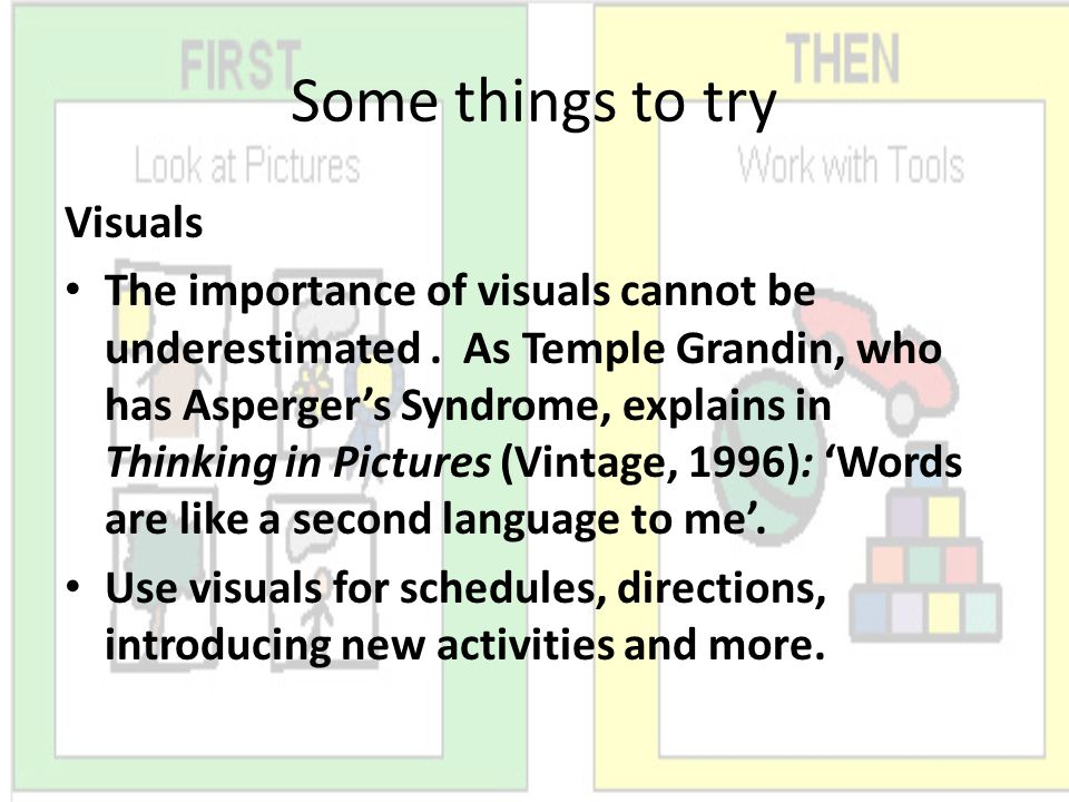 Some things to try Visuals The importance of visuals cannot be underestimated. As Temple Grandin, who has Aspergers Syndrome, explains in Thinking in