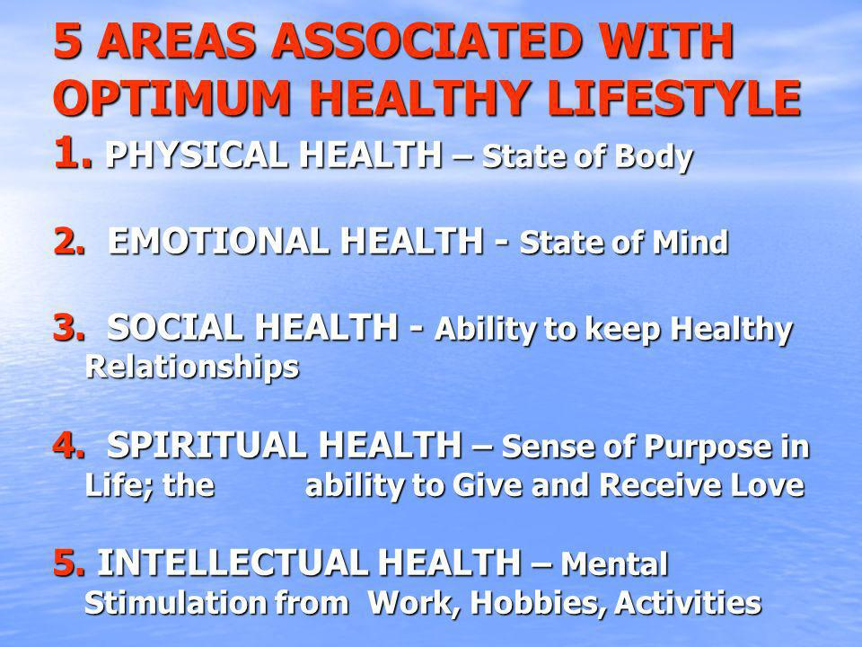 5 AREAS ASSOCIATED WITH OPTIMUM HEALTHY LIFESTYLE 1.