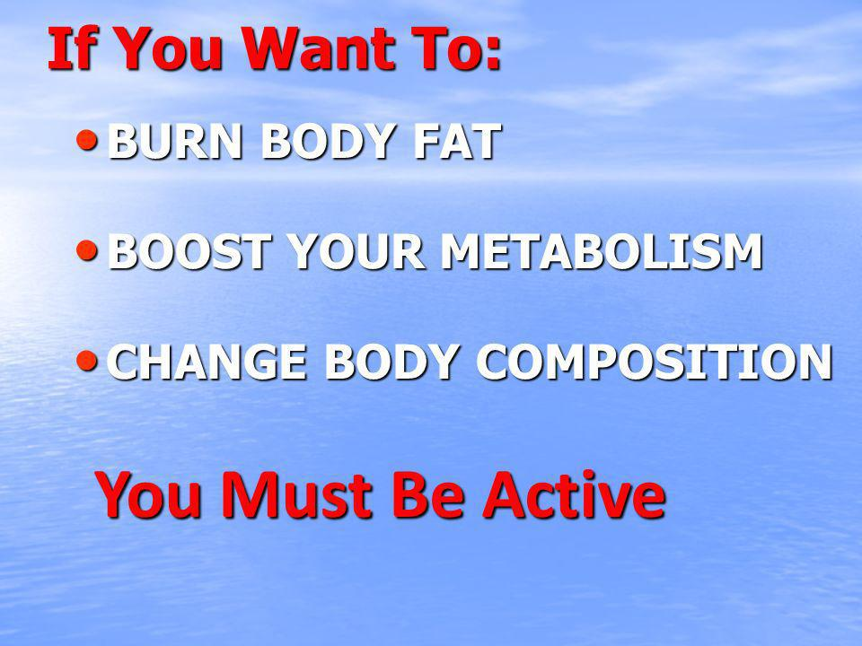 If You Want To: BURN BODY FAT BURN BODY FAT BOOST YOUR METABOLISM BOOST YOUR METABOLISM CHANGE BODY COMPOSITION CHANGE BODY COMPOSITION You Must Be Active