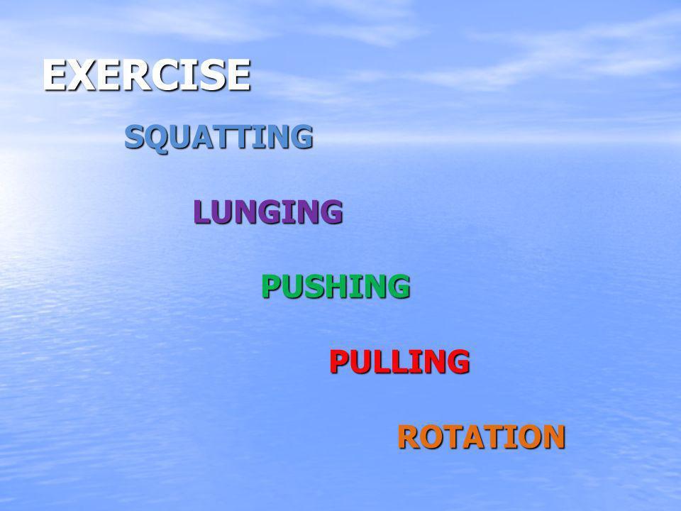 EXERCISE SQUATTINGLUNGINGPUSHINGPULLINGROTATION