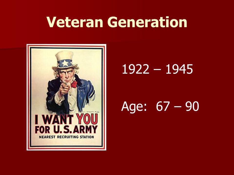 Veteran Generation 1922 – 1945 Age: 67 – 90