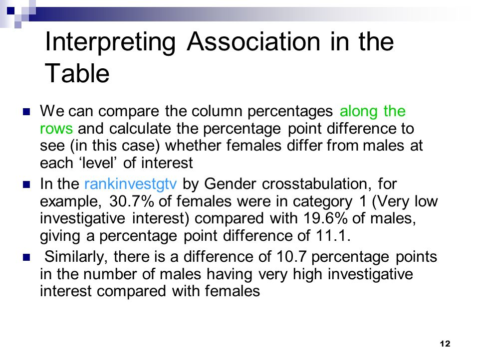 12 Interpreting Association in the Table We can compare the column percentages along the rows and calculate the percentage point difference to see (in