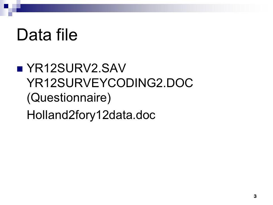 3 Data file YR12SURV2.SAV YR12SURVEYCODING2.DOC (Questionnaire) Holland2fory12data.doc