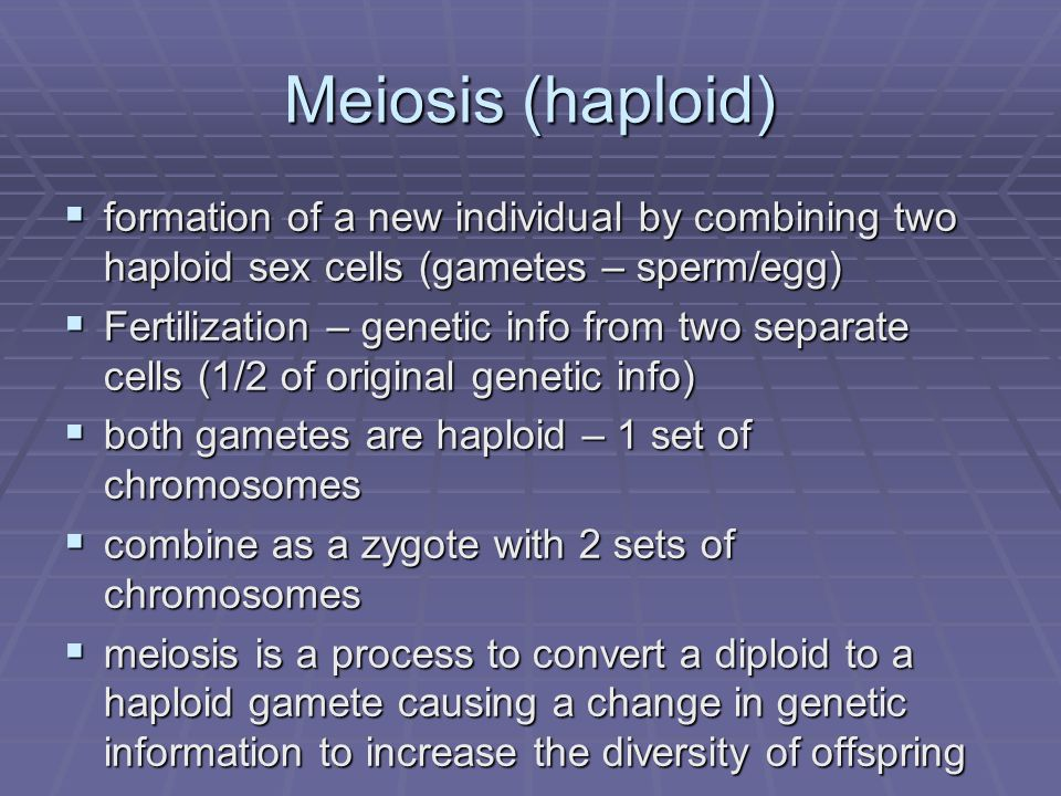 Meiosis (haploid) formation of a new individual by combining two haploid sex cells (gametes – sperm/egg) formation of a new individual by combining tw