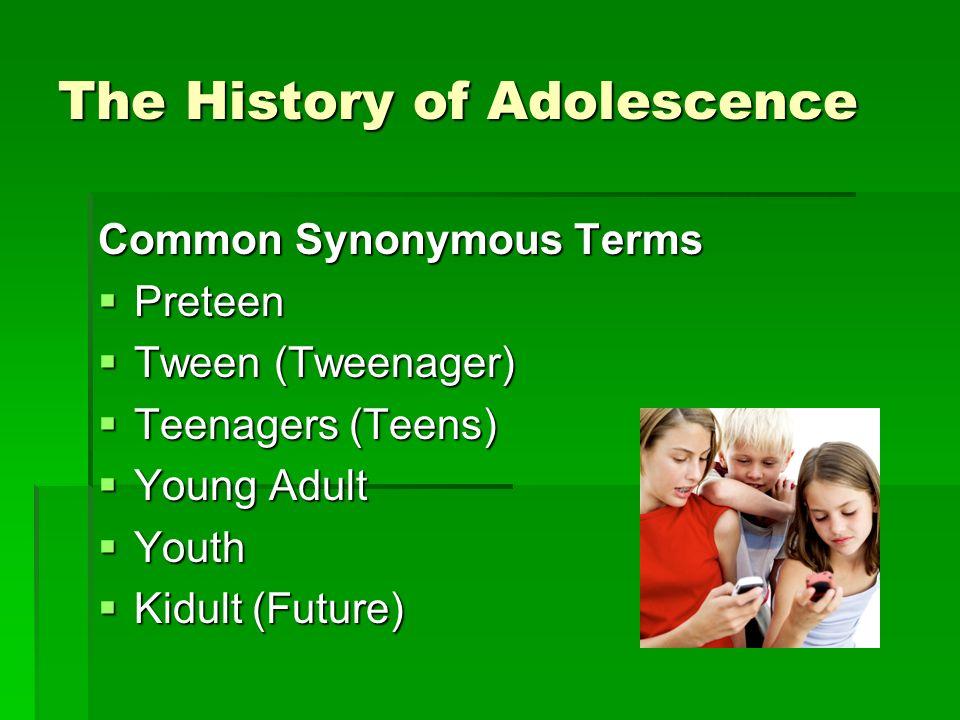 Common Synonymous Terms Preteen Preteen Tween (Tweenager) Tween (Tweenager) Teenagers (Teens) Teenagers (Teens) Young Adult Young Adult Youth Youth Kidult (Future) Kidult (Future)