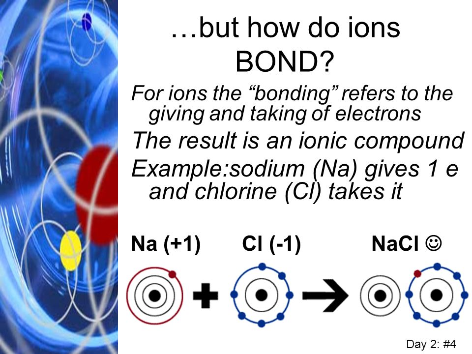 …but how do ions BOND? For ions the bonding refers to the giving and taking of electrons The result is an ionic compound Example:sodium (Na) gives 1 e