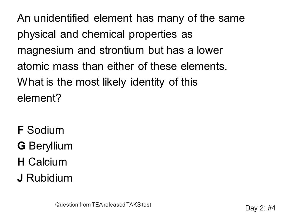 An unidentified element has many of the same physical and chemical properties as magnesium and strontium but has a lower atomic mass than either of th