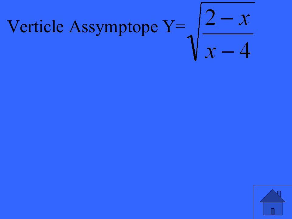 Verticle Assymptope Y=
