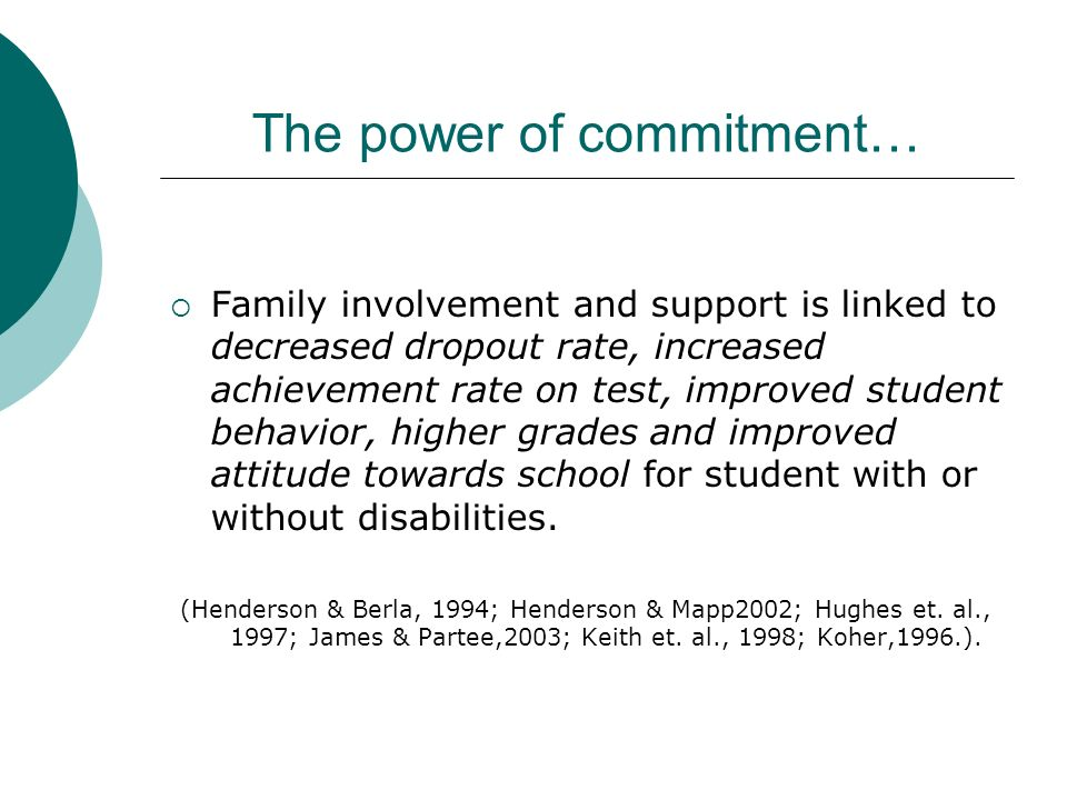National Alliance for Secondary Education and Transitions: Family Involvement (2005) Reviewed four standards for parental involvement at the secondary
