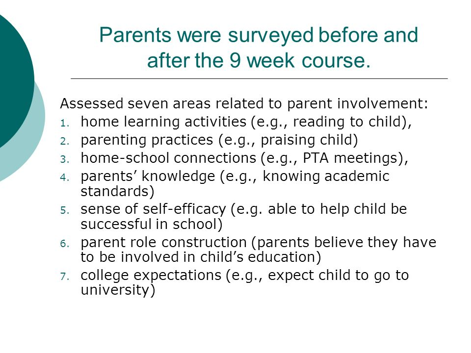 Do Educational Programs Increase Parents Practices at Home?: Factors Influencing Latino Parent Involvement (Chrispeels & Gonz, 2004) These investigato