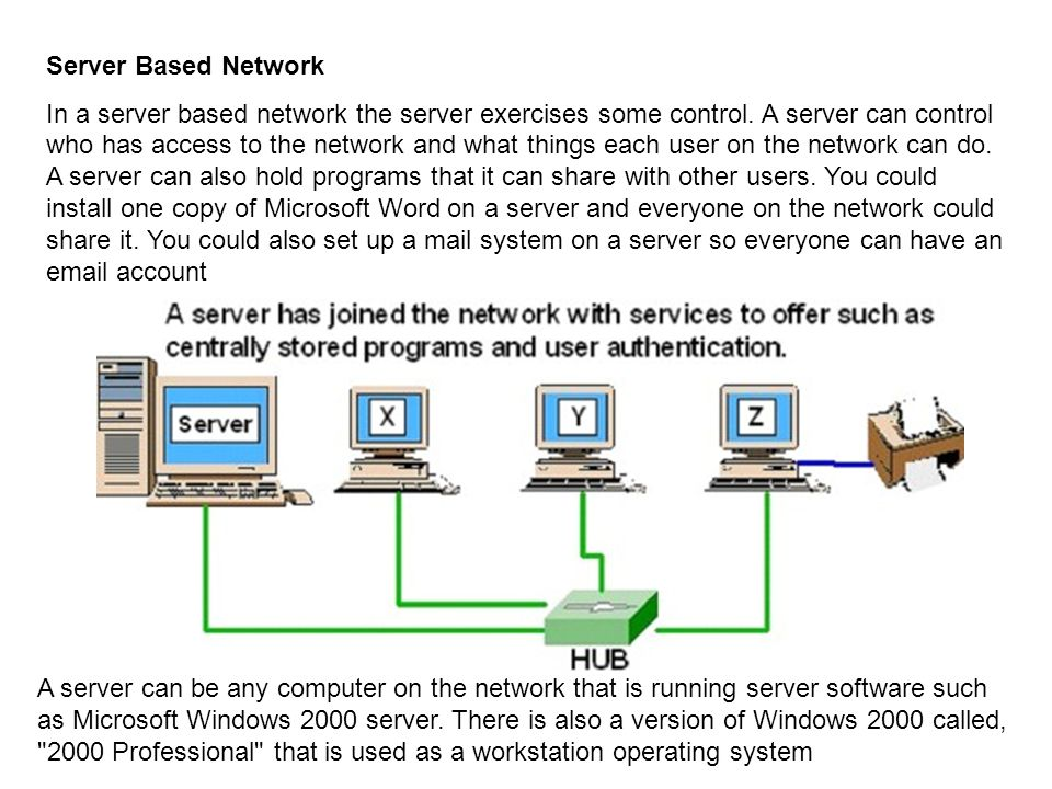 Server Based Network In a server based network the server exercises some control. A server can control who has access to the network and what things e