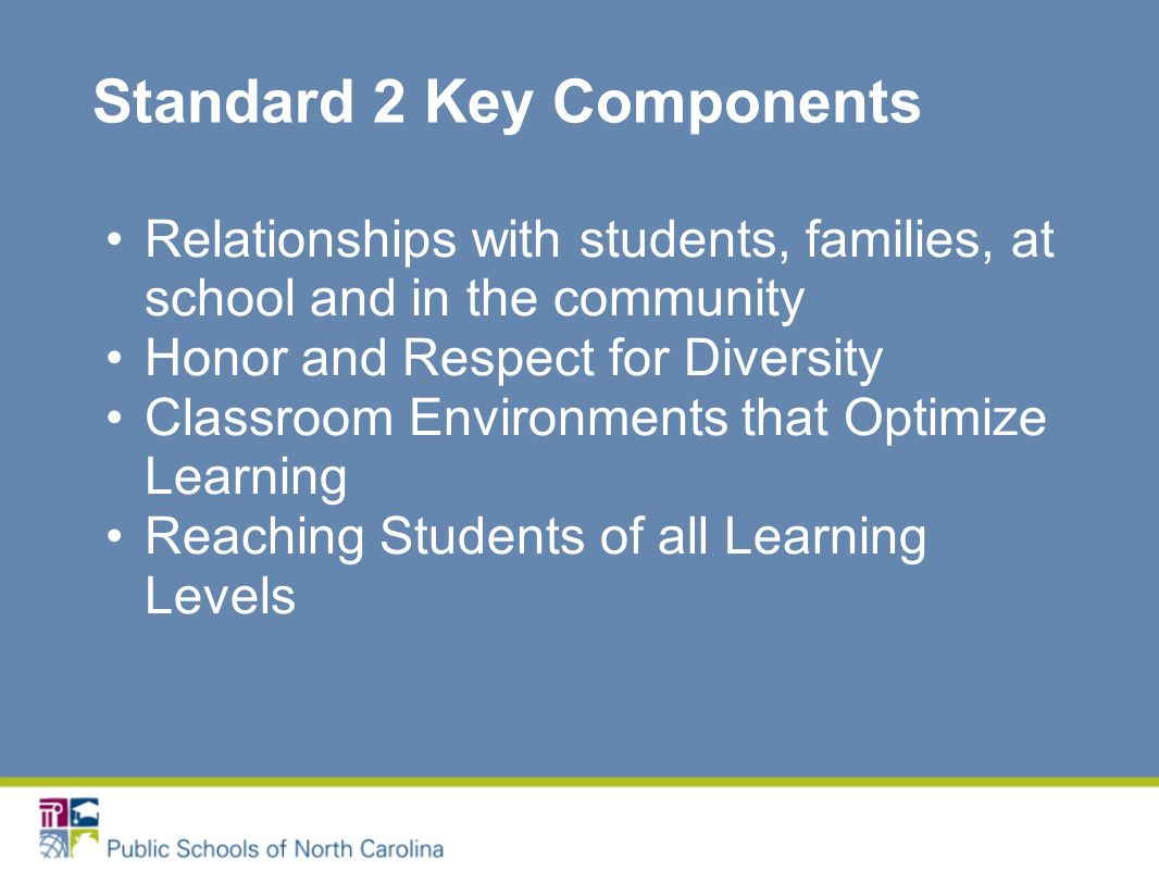 Standard 2 Key Components Relationships with students, families, at school and in the community Honor and Respect for Diversity Classroom Environments that Optimize Learning Reaching Students of all Learning Levels