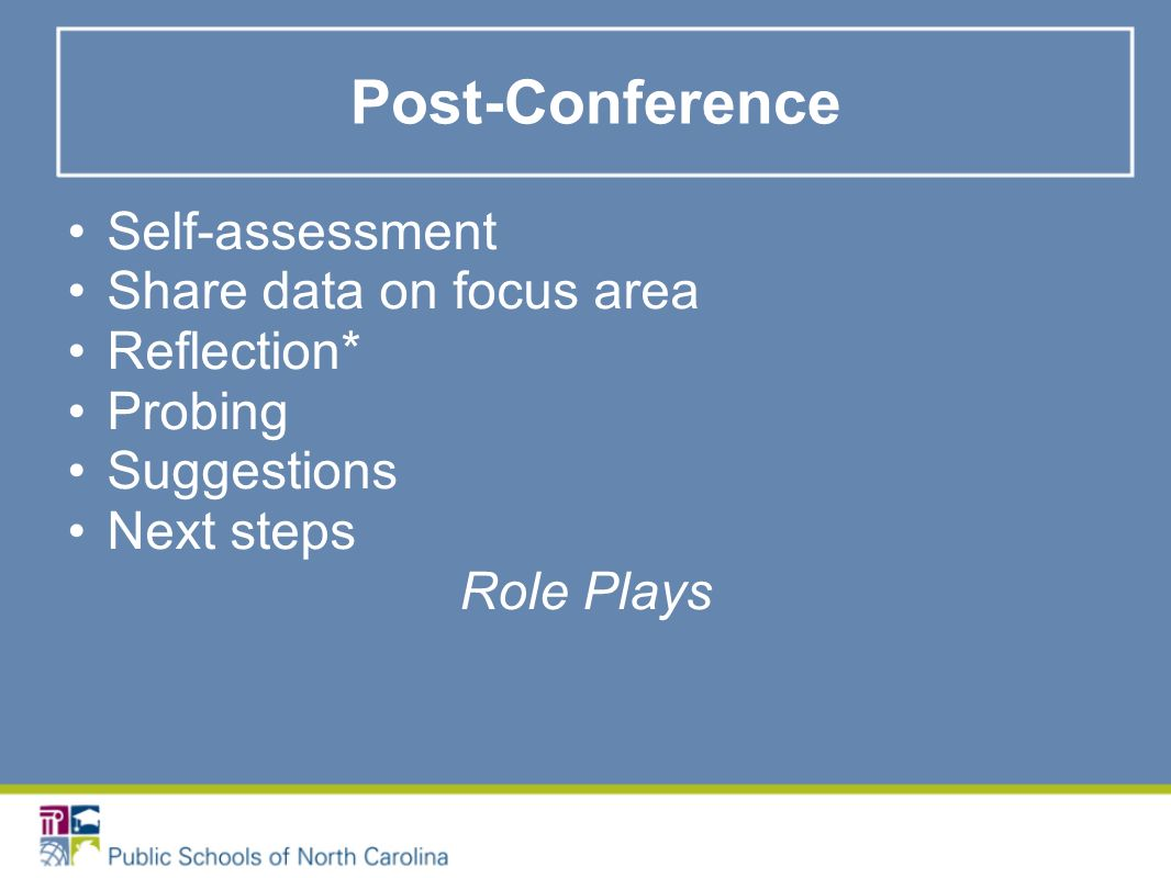 Post-Conference Self-assessment Share data on focus area Reflection* Probing Suggestions Next steps Role Plays