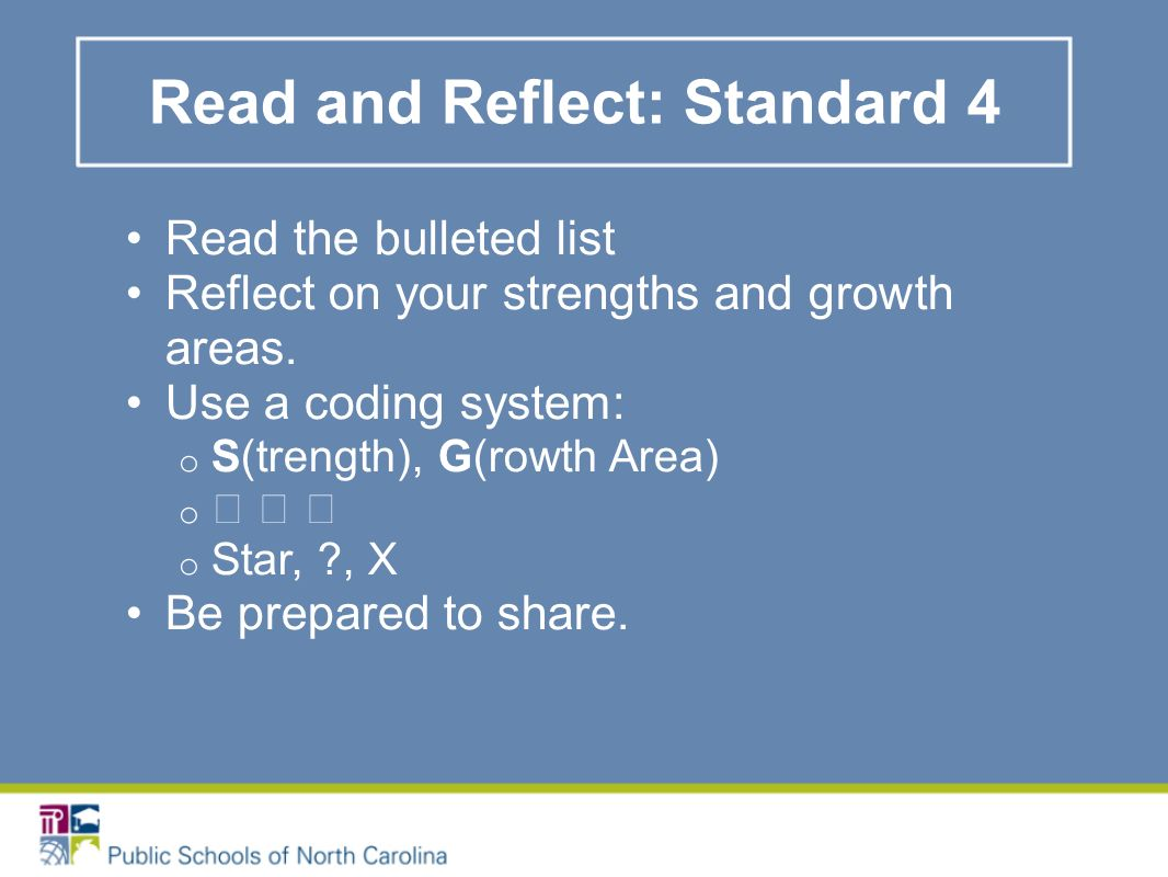 Read and Reflect: Standard 4 Read the bulleted list Reflect on your strengths and growth areas.