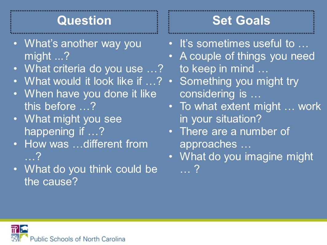 Set GoalsQuestion Whats another way you might....What criteria do you use ….