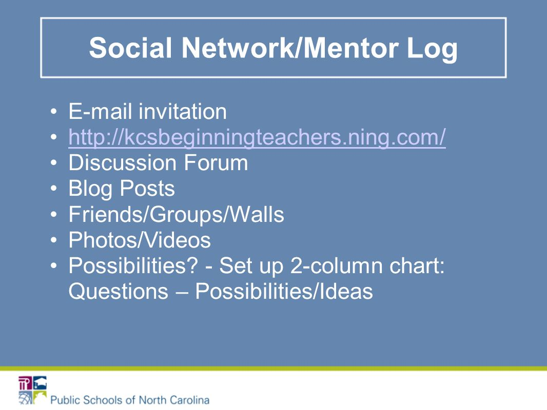 Social Network/Mentor Log E-mail invitation http://kcsbeginningteachers.ning.com/ Discussion Forum Blog Posts Friends/Groups/Walls Photos/Videos Possibilities.
