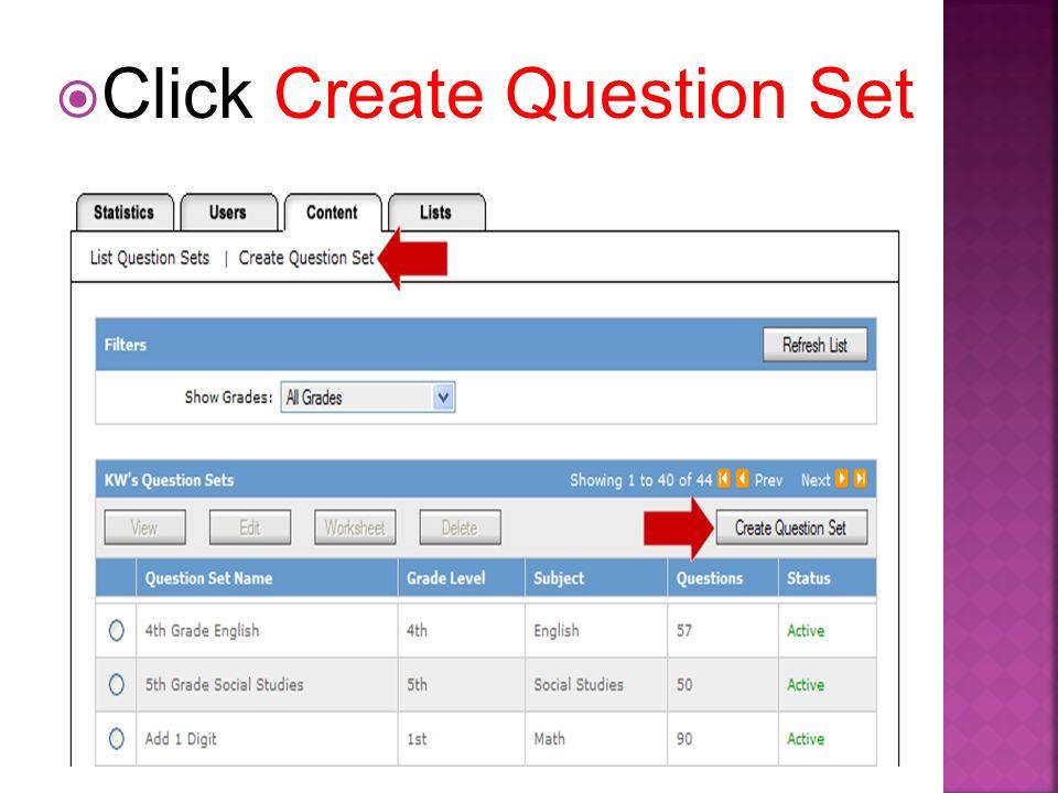 Click Create Question Set