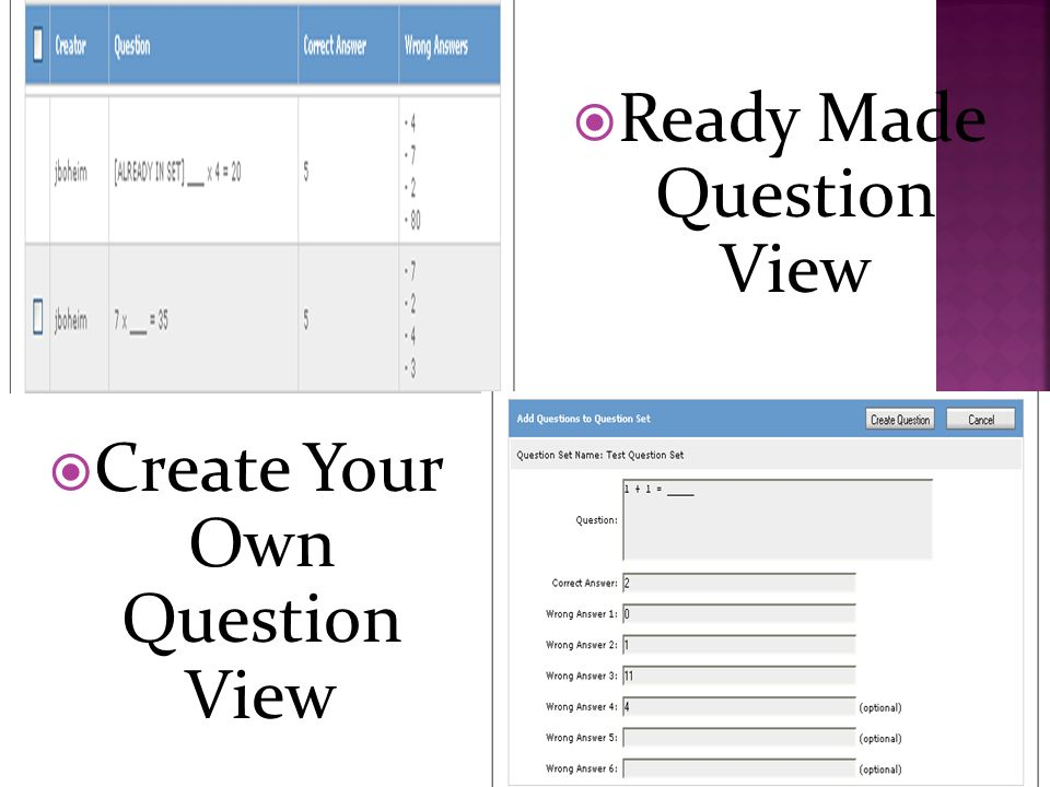 Create Your Own Question View Ready Made Question View